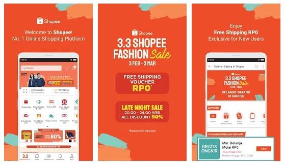 Aplikasi untuk jualan online yaitu shopee